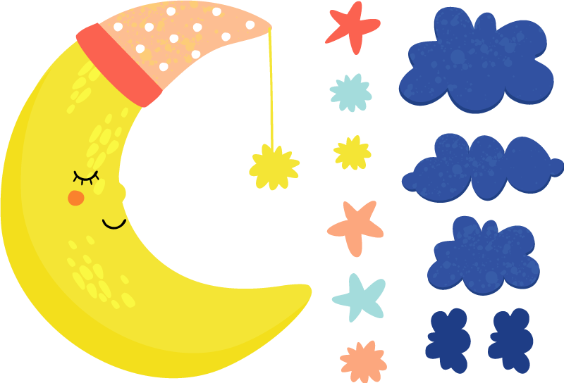 TenStickers. Autocolantes de ilustrações Lua no Céu Estrelado. Maravilhoso vinil de ilustrações para decorar o quarto do seu bebé de uma lua em quarto crescente a dormir entre as estrelas e as nuvens!