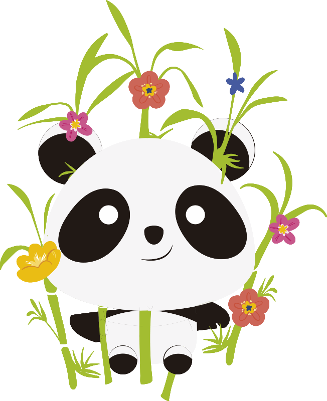 TenStickers. Pandas blooming trees wild animal sticker. Animal wall sticker with panda and blooming flowers to decorate the bedroom of your child. This design is easy to apply and you can chose the size.
