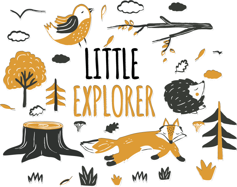 TenStickers. Little explorer wild animal sticker. Children animal wall sticker for bedroom. Design created with trees and animals with text '' little explorer. You can chose the size you prefer.