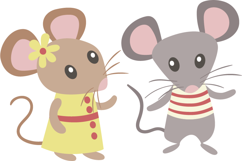 TenStickers. Mouse Love Kids Stickers. Kids Wall Stickers - Fun and playful design of a couple of mice. Ideal for decorating kids´bedrooms.