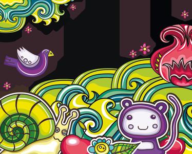 TenStickers. Sticker jungle dieren kleuren. Deze sticker omtrent een kleurvolle fantasierijke omgeving met diverse dieren en andere vormen. Ideaal voor kinderen.