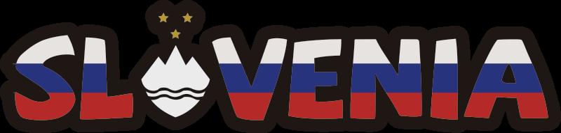 TenStickers. Slovenija besedilo nalepka. Zastavna stenska nalepka slovenije, ustvarjena v besedilni obliki v zelo grafičnem slogu, ki ga boste imeli radi. Z njo lahko okrasite svojo dnevno sobo ali spalnico.