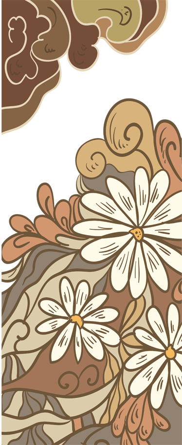TenStickers. Drawing Flowers Decal. Wall Stickers - Retro abstract floral design. Available in various sizes to decorate various areas such as walls, cupboards and doors.