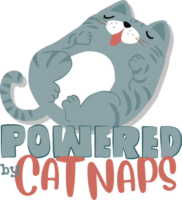 TenStickers. Powered by cat naps wall decor. An animal wall sticker for kids bedroom created with a cat and text that says '' nap'. This design will interest you and you will love it on the wall.