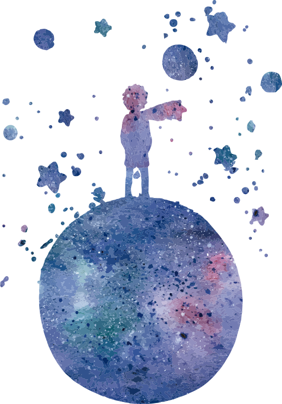 TenStickers. The world of Little Prince fairy tale wall decal. A little prince sticker in blue colour designed just for the children. This design is very easy to apply and you can chose the size.