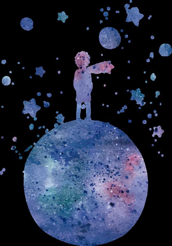 TENSTICKERS. 星の王子さまのおとぎ話の壁デカール. 子供向けにデザインされた青い色の小さな王子様のステッカー。このデザインは非常に簡単に適用でき、サイズを選択できます。