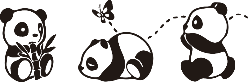 TenStickers. Panda playing with butterfly wild animal sticker. Panda playing with butterfly wild animal decal design for kids bedroom. This design contains little pandas with butterfly and it's easy to apply.