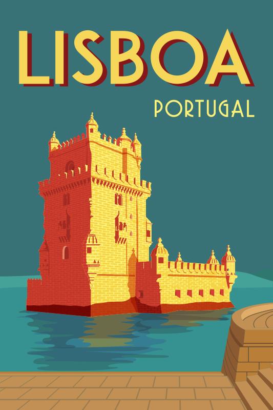 TenStickers. Autocolantes com cidades e países Portugal Vintage. Complementa a decoração da tua casa com este sublime vinil de cidades e países com uma ilustração em estilo vintage da Torre de Belém!