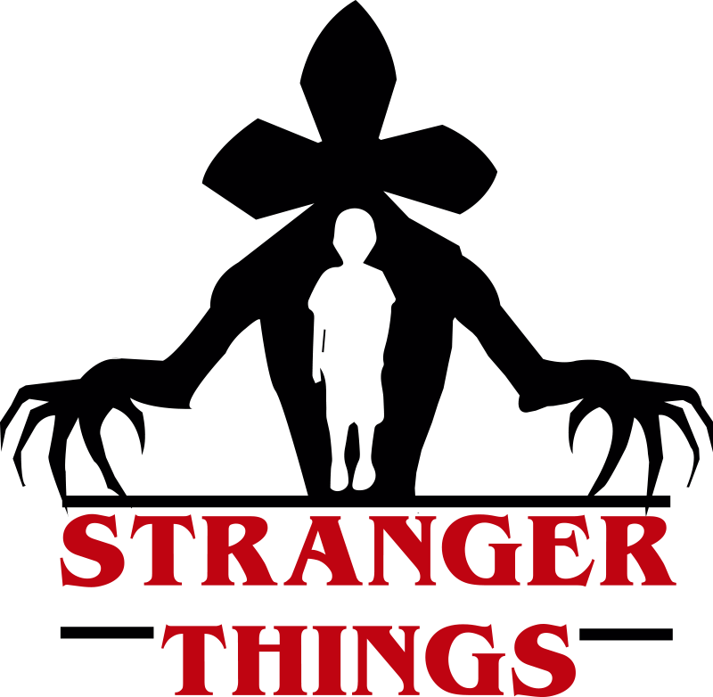 TenStickers. Stranger Things tv series wall decor. Stranger Things TV series wall decal design of the monster from the upside down world, a boy inside the monster and the name of the series.