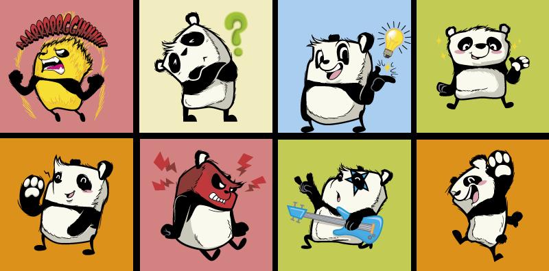 TenVinilo. Cenefa decorativa Jugando pandas. Original dibujo en vinilo infantil de osos pandas jugando con el que podrás decorar la habitación de tu hijo de forma exclusiva. Fácil de colocar.