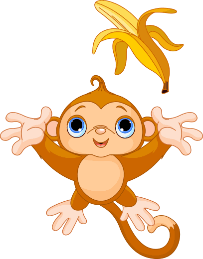 TenStickers. Autocolante infantil macaco e banana. Autocolante infantil que ilustra um adorável macaco atirando a sua banana para o ar, ideal para dar ao quarto do seu filho uma decoração colorida!