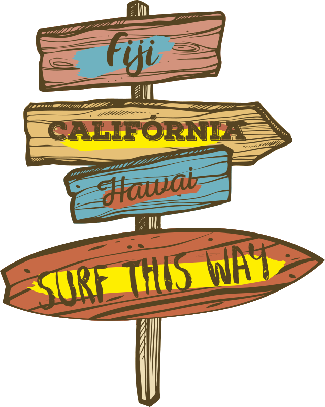 TenStickers. Surf table wall decor. Country surf table sign wall sticker design. This product is a design of a city location on a wooden signage.This design is easy to apply the surface.