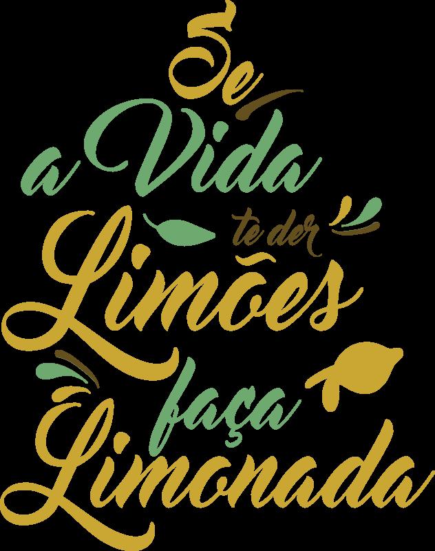 """TenStickers. Autocolantes decorativos de outros textos Se a vida te der limões. Torna a tua cozinha mais original e com um ambiente mais divertido com este vinil decorativo com a frase """"Se a vida te der limões, faça limonada""""."""