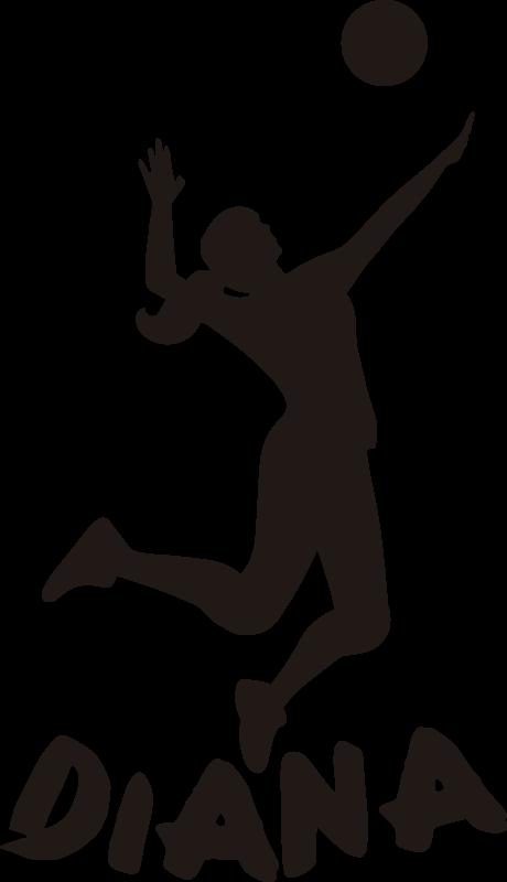 TenVinilo. Vinilo decorativo Silueta de jugador de voleibol. Original vinilo decorativo de deporte juvenil con nombre personalizable de una jugadora saltando rematando el balón. Fácil de aplicar.