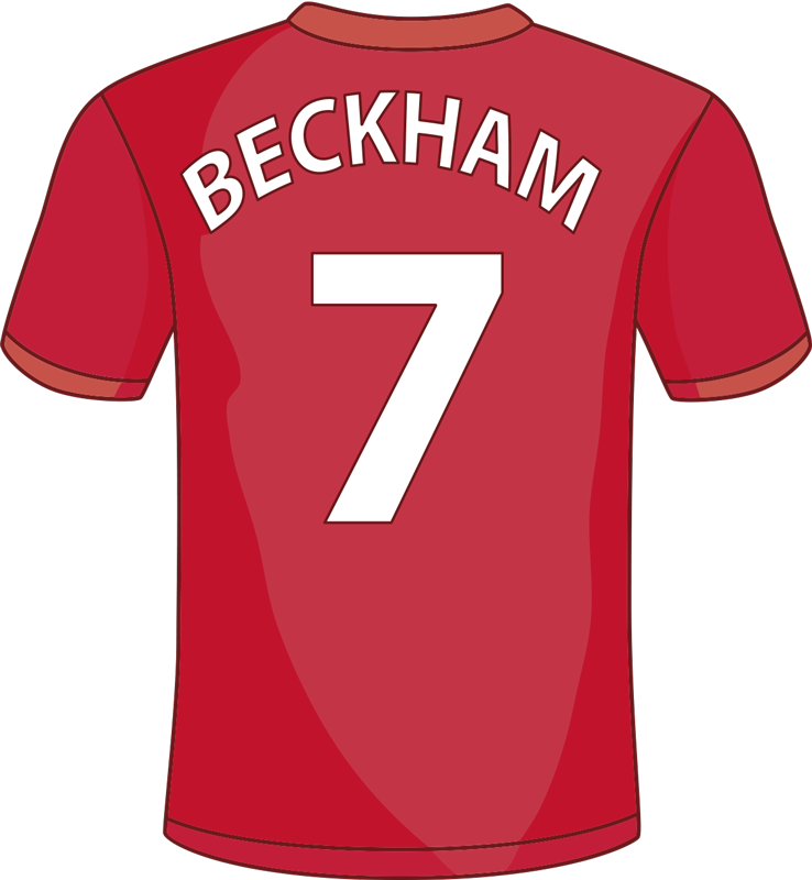 TenStickers. David Beckham football sticker. David Beckham football sport wall decal for your teens bedroom to feel happy. This is a design of Beckham's name and number 7 on a red jersey.