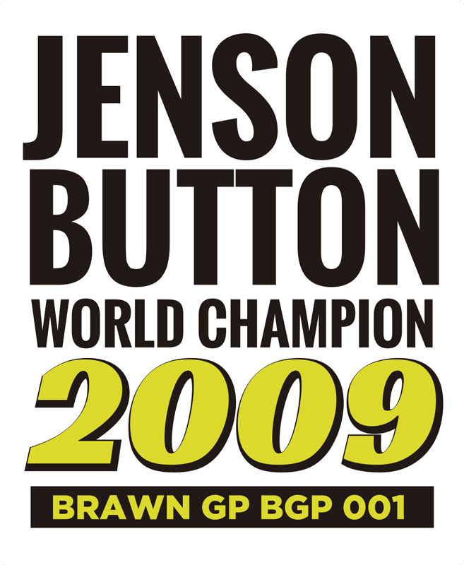 TenStickers. Jenson Button world champion car decal. Jenson Button world champion car sticker designed on a white background with the text  of victory. This product is easy to apply on cars and vehicles.