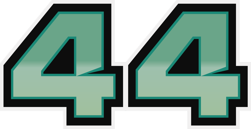 TenStickers. Lewis Hamilton 44 car decal. Lewis Hamilton 44  car sticker design of the British car racing driver's number 44. This product can be in any size of your choice.