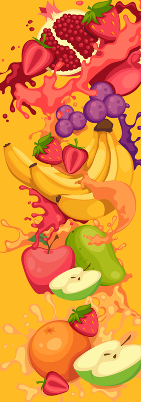 TenStickers. Fruit drawings fridge wrap. This is a creative fruit drawing  fruit fridge wrap design  made just for your amazement with high quality material that does not form wrinkles.