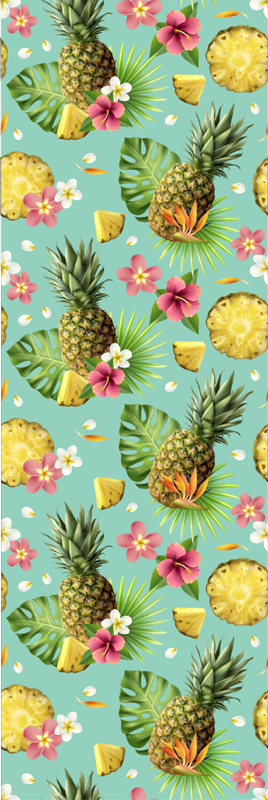 TenStickers. Tropical fruits fridge wrap. An amazing green colour tropical fruits fridge wrap that is just perfect for for your fridge. This product is made of high quality matte.