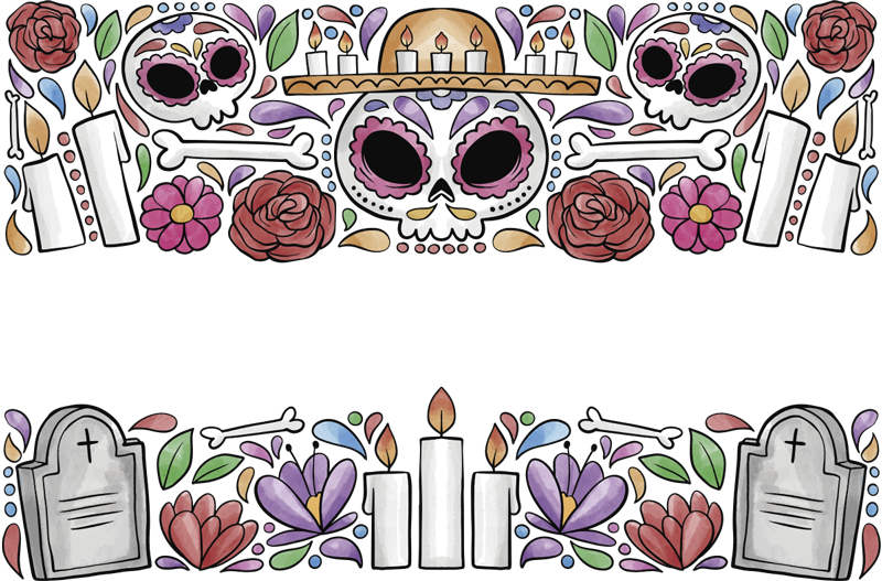 TenStickers. Day of the dead window sticker. multi coloured ornament window of the dead window sticker is designed with bones, grave , cross and everything related to the memory of the dead.