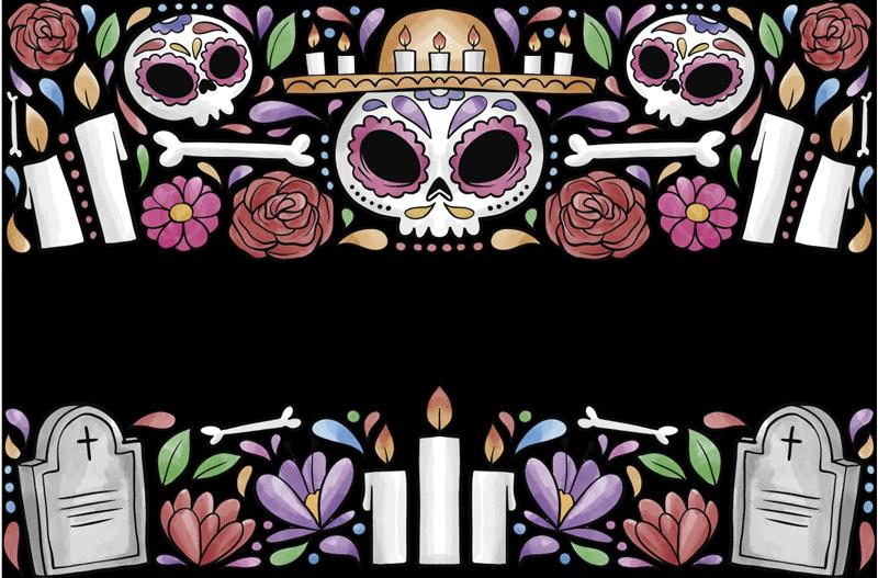 TenStickers. Dag van de dode zelfklevende raamsticker. Multi-gekleurde ornament venster van de dode raamzelfklevende sticker is ontworpen met botten, graf, kruis en alles met betrekking tot de herinnering aan de doden.