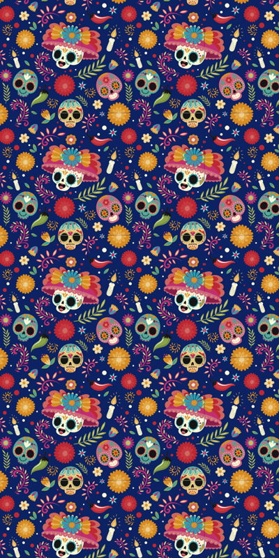TenStickers. Day of the dead window decal. colourful day of the dead window decorative window sticker designed from the idea of day of the dead and will be beautiful for all your wall  surface