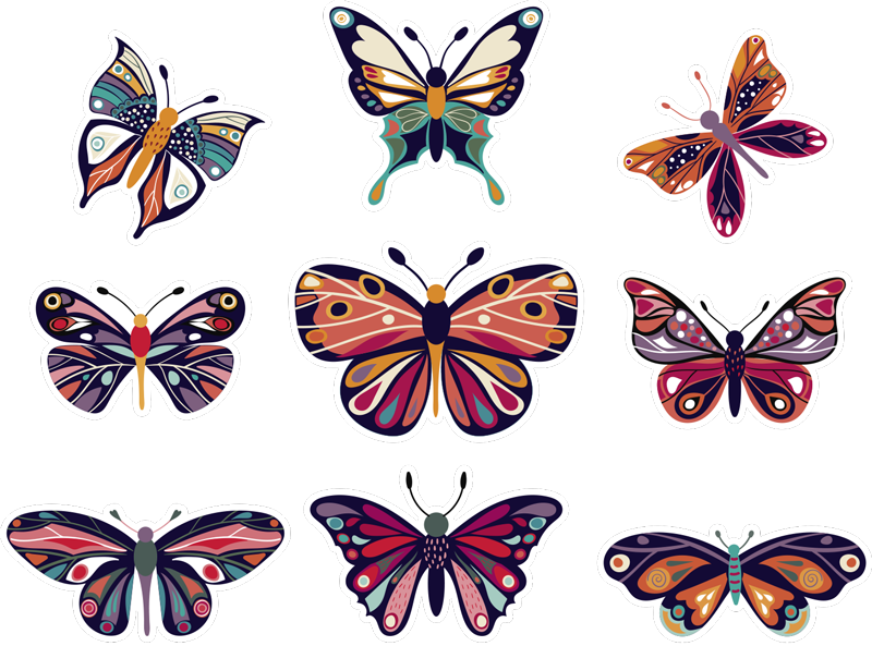 TenStickers. butterflies window decoration window decal. Butterfly window decoration window wall sticker in mixed colour for all your glass surface. This product is made of very high quality material.