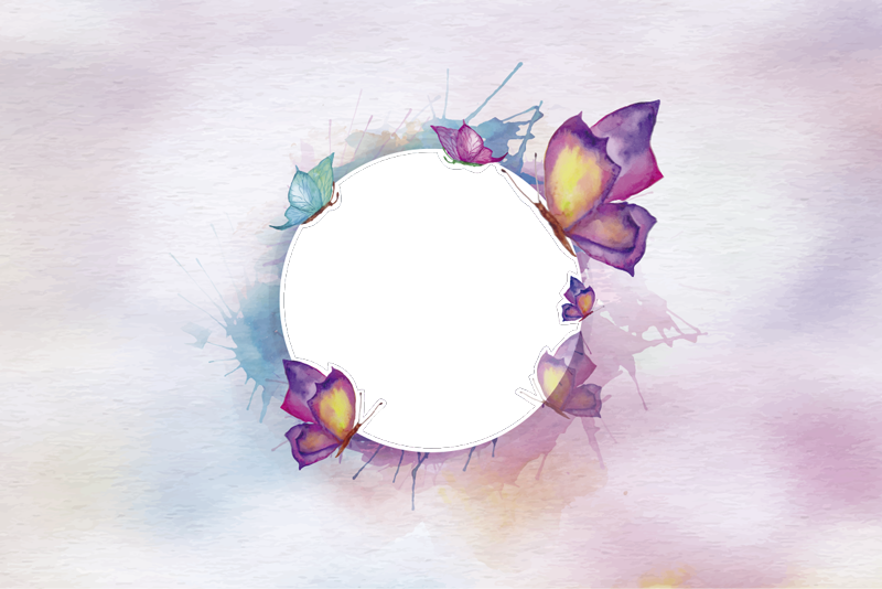 TenStickers. Coloured butterfly window decal. This is a design of  coloured butterfly on transparent background window sticker with a transparent circle for a see through on the environment.
