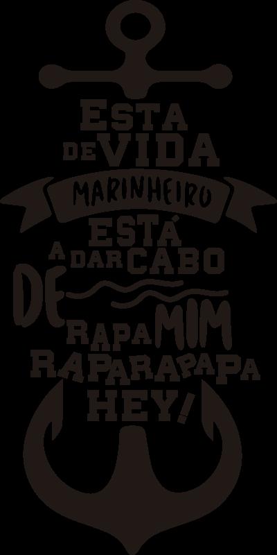 """TenStickers. Autocolantes de letras de canções Vida de Marinheiro. Torna a decoração da tua casa ainda mais criativa e divertida com este fantástico vinil de letras de canções da música """"Vida de Marinheiro""""!"""