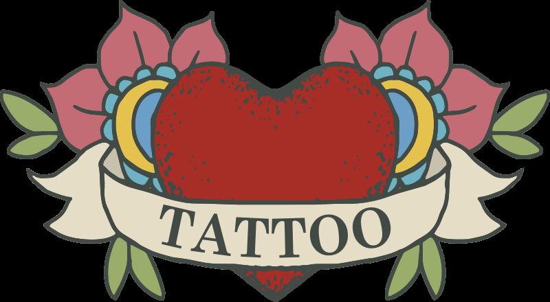 TenStickers. Art mural sticker tatouage néon coeur. Une conception d'autocollant d'art mural de coeur de tatouage de néon d'un coeur avec des fleurs. Ceci est fabriqué à partir de mat de haute qualité et facile à coller et à retirer du mur.