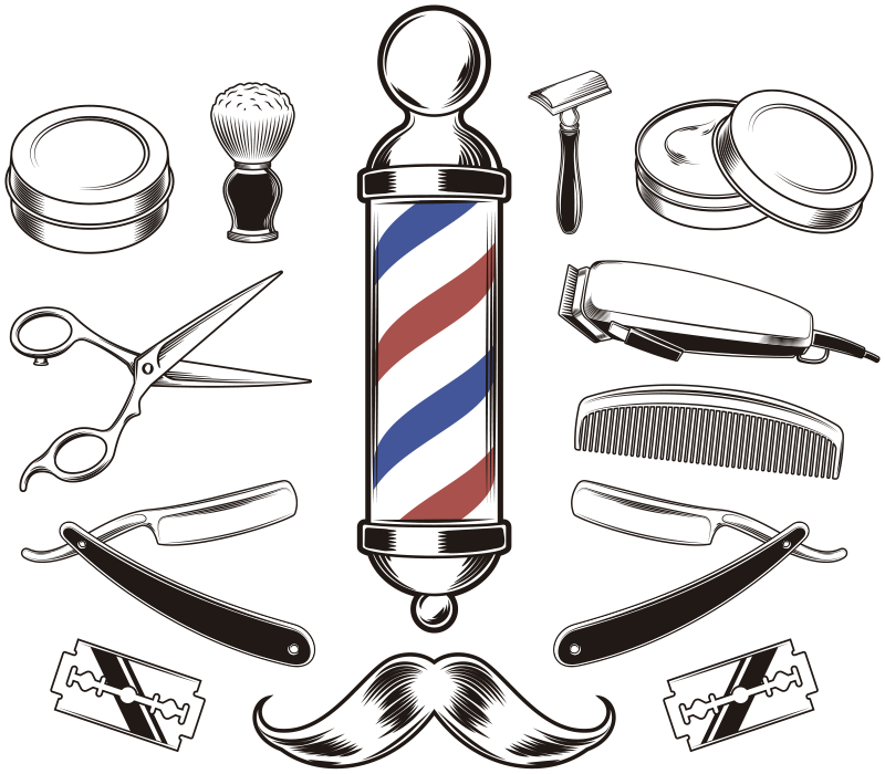 TenStickers. Barber instruments wall decor. Barbing tools instrument wall sticker for barbing shops and barbing corner with high quality material and easy to apply on wall or mirrors.