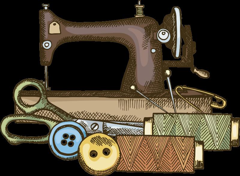 TenStickers. Kit de couture stickers art. Ce kit de machine à coudre sticker mural art design création de machine, aiguille, fil et épingle. Ce design peut être dans n'importe quelle taille de votre choix