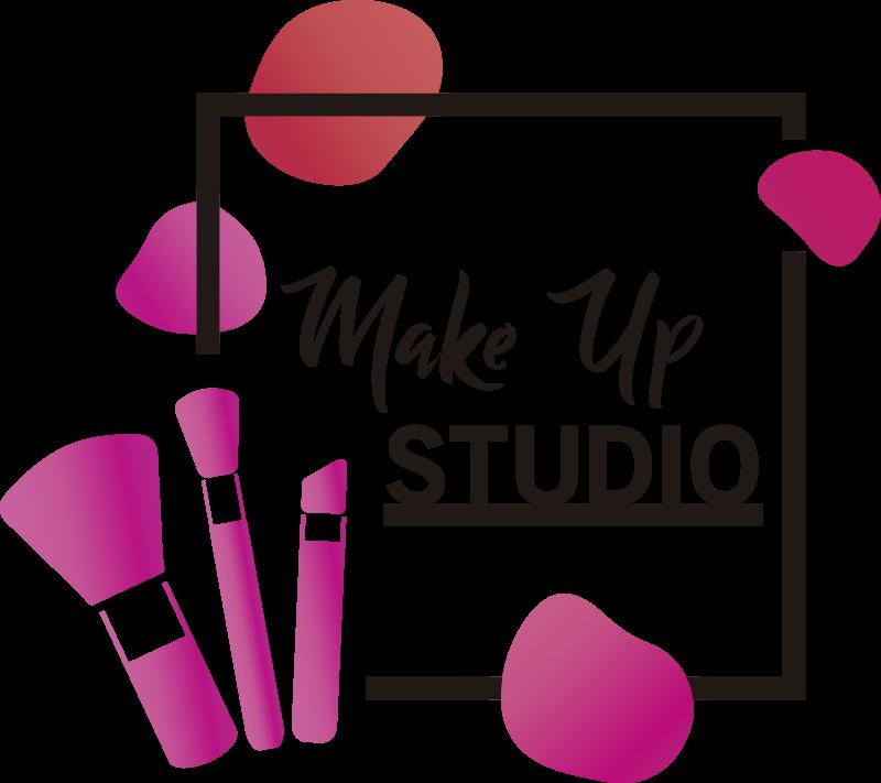 TenVinilo. Vinilo para negocio de estética con pinceles. Vinilo para centro de maquillaje con frase make up studio en diseño en rosa y pinceles de maquillaje. Producto hecho de alta calidad.
