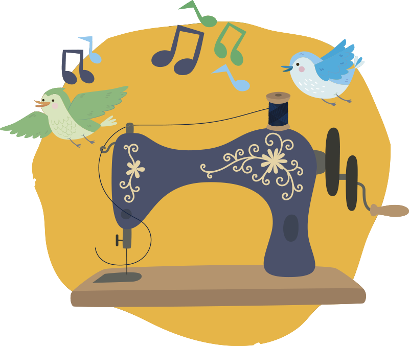 TENSTICKERS. 鳥のステッカーが付いているミシン. 黄色の背景に作成された鳥と音の壁のステッカーが付いたミシンは、どの壁にも美しくなります。このデザインは任意のサイズにすることができます。