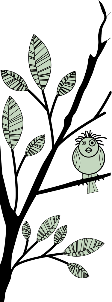 Sticker douchedeur tak vogel blaadjes