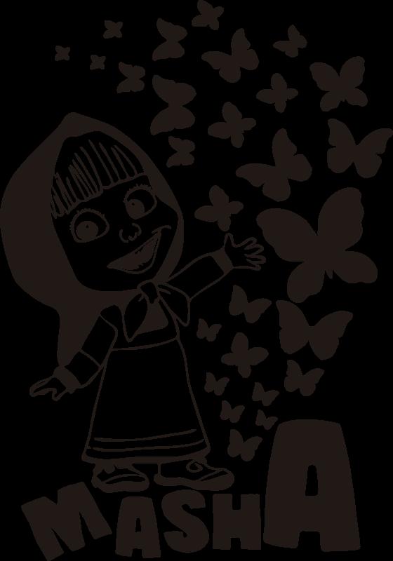 TenVinilo. Vinilo decorativo cartoon Masha con mariposa. Original vinilo infantil para pared de Masha con mariposas y texto con el que podrás decorar la habitación de tu hija. Elige color y medidas.
