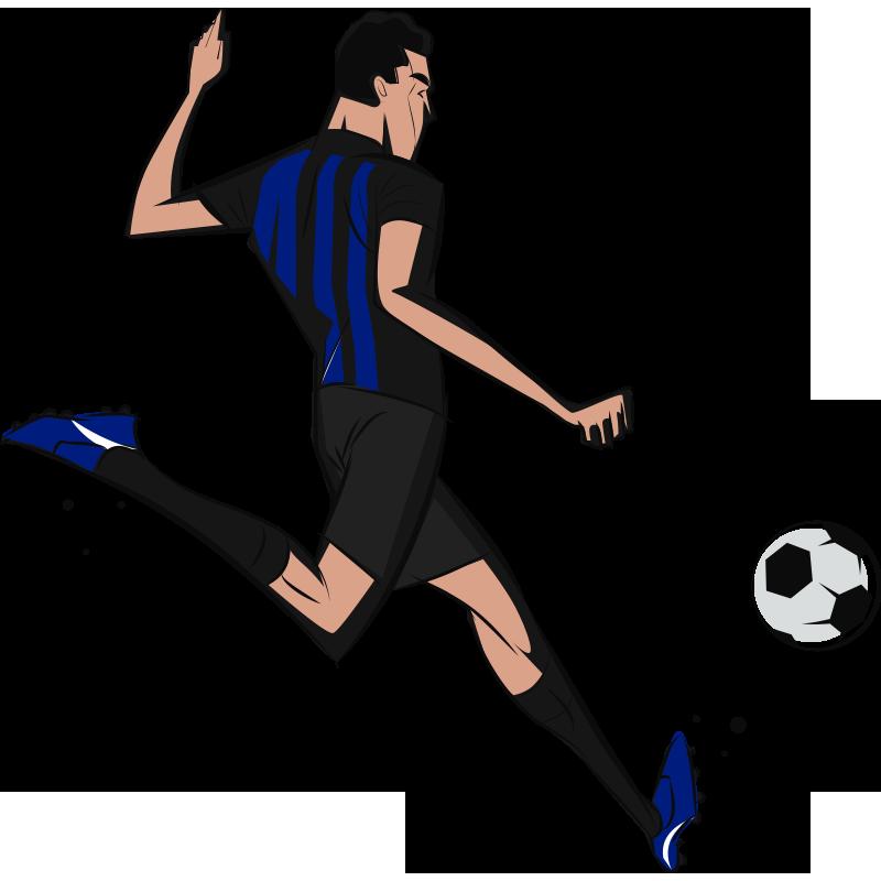 TenStickers. Adesivo da calcio per giocatore Inter. Adesivo da parete calcio giocatore Inter per la cameretta dei tuoi ragazzi o qualsiasi parte della tua casa. Questo è un disegno di un giocatore che gioca.