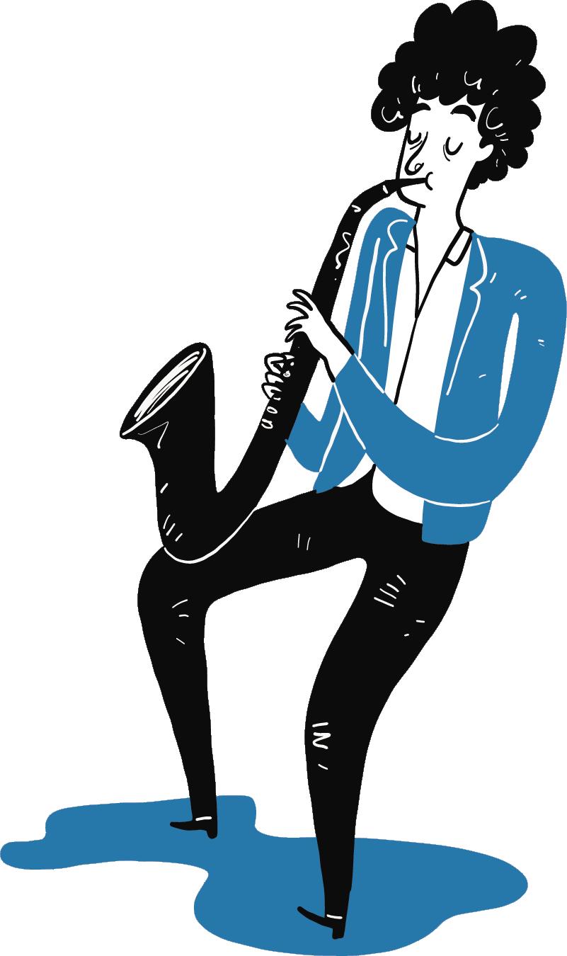 TenStickers. Saxophonist Aufkleber. Ein Mann mit Saxophon und Hut. Mit diesem Wandtattoo Design können Sie der Wand im Kinderzimmer einen musikalischen Look verleihen.
