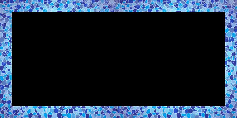 TenStickers. Zelfklevende spiegelsticker voor  in de badkamer. Badkamer spiegel frame zelfklevende sticker die is omlijst met meerdere ruitvormen in blauwe kleur. Dit product geeft je spiegel een mooie definitie.