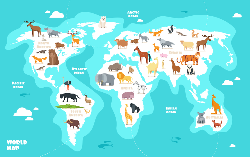 TenStickers. Blue animal world map world sticker. Animal world map wall sticker design of continents with their  animal types created  on a blue sea colour background to make your wall outstanding.