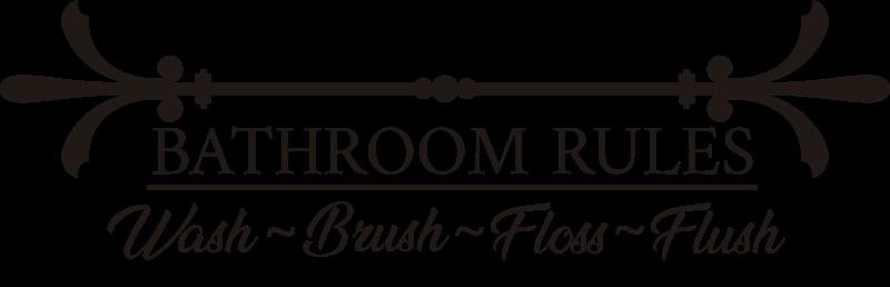 """TenStickers. """"Badkamer regels"""" tekst  zelfklevende sticker. Badkamer regels tekst zelfklevende muursticker met de tekst:  wassen, doorspoelen, penseel en floss om netheid te creëren. Dit product kan in uw kleur en maat naar keuze zijn."""