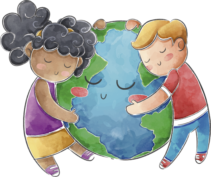 TenStickers. Globe for kids illustration wall art. Children room globe wall sticker design of the world with two kids holding lovely to it. This design can be in the kids bedroom so they can enjoy it.