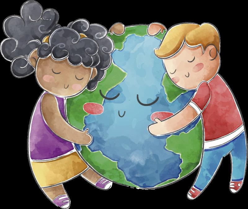TenStickers. Globo per bambini illustrazione sticker. Adesivo murale globo camera dei bambini design del mondo con due bambini adorabili. Questo design può essere nella camera dei bambini in modo che possano goderselo.