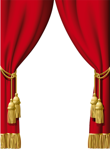 TenStickers. Theater Curtain Vinyl Sticker. Decals - Elegant red velvet curtains to decorate your doors, windows or walls.
