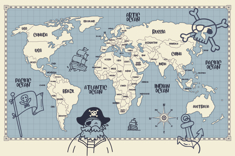 TenStickers. Pirate world map world map sticker. Pirate world map  kids sticker design of the the world map showing the the pirates zones.This design contains the map with the sea points with pirates.