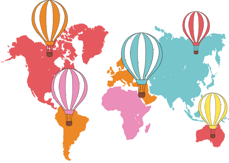 TenStickers. balloons world map sticker. Change your home with this World map with balloons wall sticker created with world map and beautiful coloured balloons. You can choose your size.