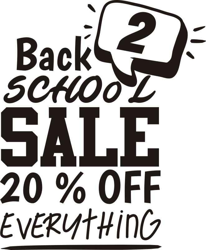 TenStickers. Back 2 school sale wall sticker. Back 2 school sale  sticker for shop windows to promote business. This product is designed with text content in black, and special feature call symbol.