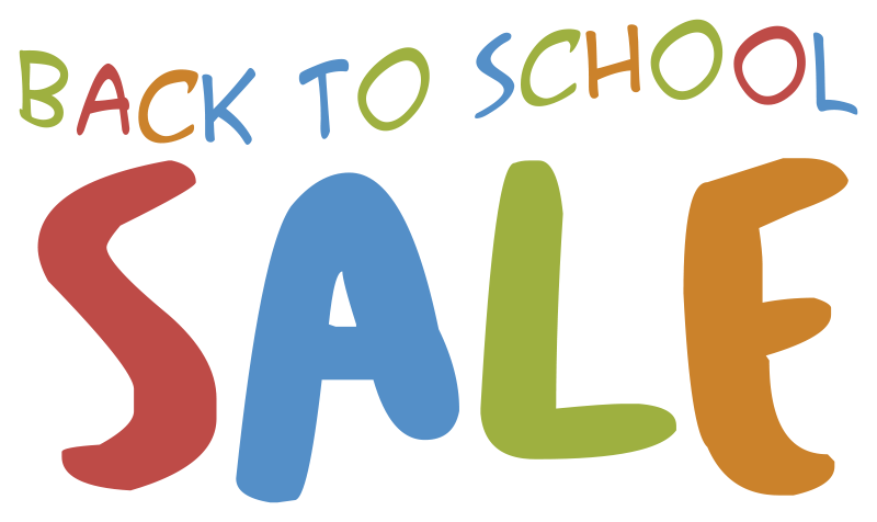 TenStickers. Back to school sale text wall sticker. Advertise your seasonal offer with thisback to school sale text wall stickerfor your shop.This design is created in multicoloured text just for you.