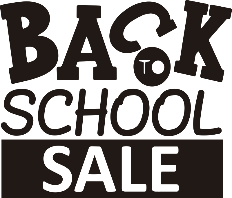 TenStickers. Cool back to school sale wall sticker. Advertise your seasonal offer with this cool back to  school sale sticker created in pink colour and can be in any colour and size of your choice.