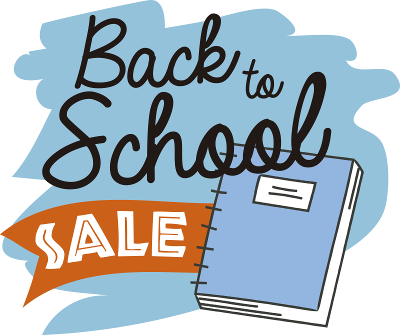 TenStickers. Fun back to school sale sale wall sticker. Fun back to school sale sticker design in blue background. This design contains promotional text and a book in a drawing pattern. Easy to apply.